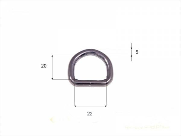 D-Ring 22x20x5mm gunmetal