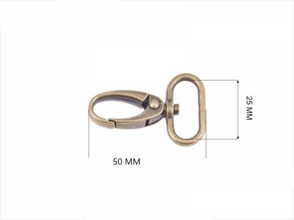 Karabiner 25mm Alt-Messing